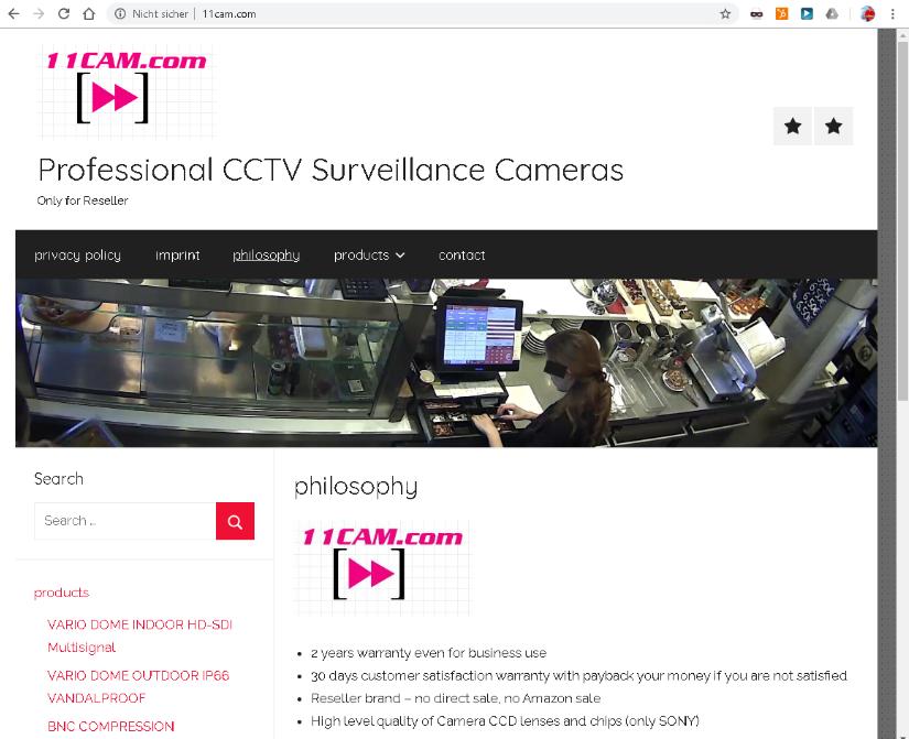 11CAM Website aus 2019