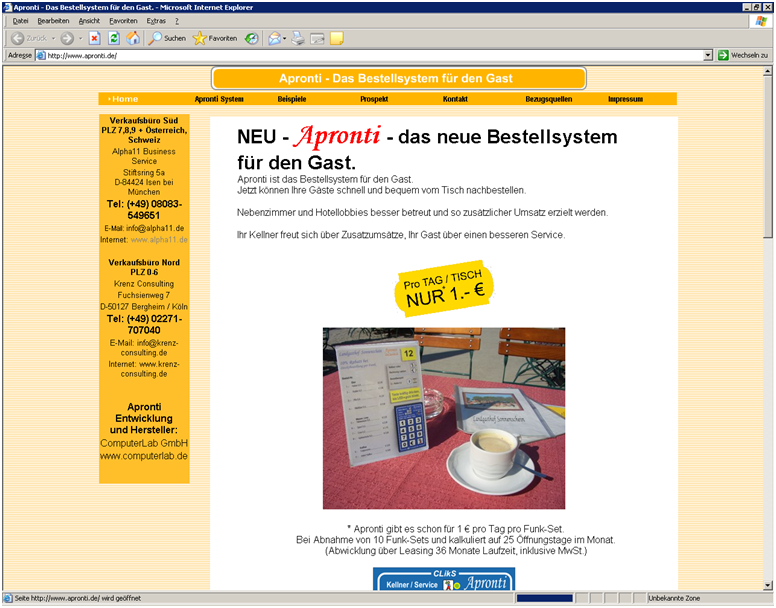 Apronti Pager WebSite aus 2009