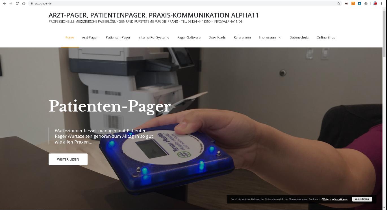 Arzt-Pager Website aus 2019