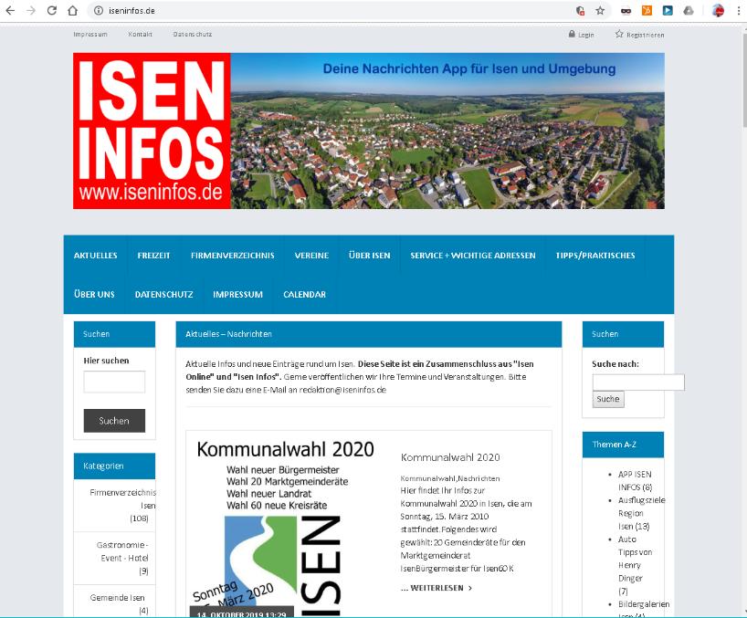 Orts Portal Isen Infos mit App-Entwicklung 2015