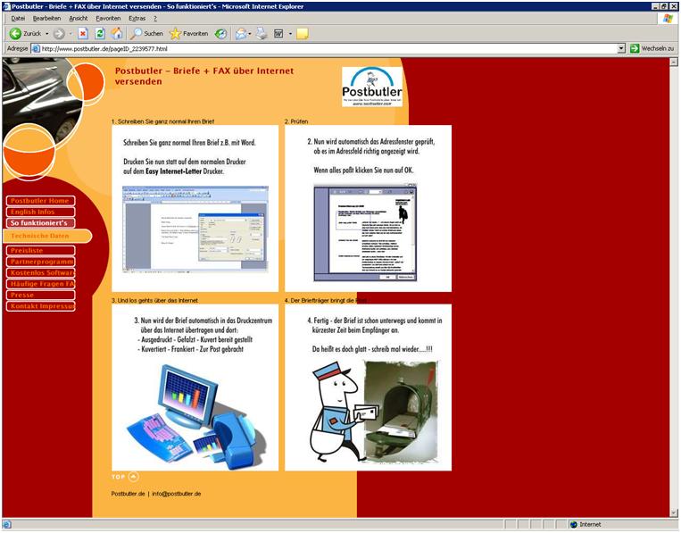 Postbutler Website 2001