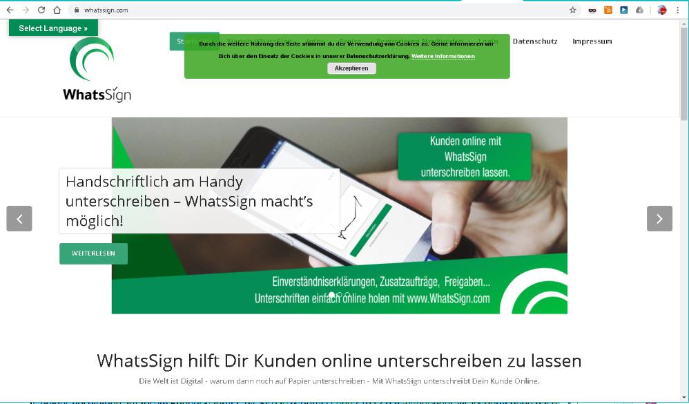 WhatsSign WebSite aus 2019
